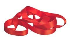 Rood satijnlint Royalty-vrije Stock Afbeeldingen