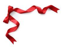 Rood satijnlint met boog Stock Afbeelding