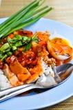 Rood sausvarkensvlees met rijst Stock Foto's