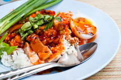 Rood sausvarkensvlees met rijst Stock Afbeeldingen