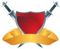 Rood Schild met Swordds Stock Afbeeldingen