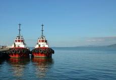 Rood schip twee op de achtergrond van het overzees royalty-vrije stock afbeelding