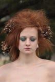 Rood Sinaasappel Geplaagd Haar met Dode Bloemen Stock Fotografie