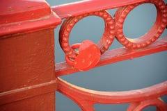 Rood slot op het net van de rode brug Royalty-vrije Stock Foto's