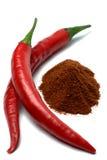 Rood Spaanse peperpeper en Spaanse peperpoeder Stock Fotografie
