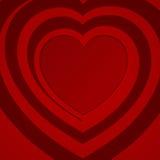 Rood spiraalvormig hart - vectorillustratie. Royalty-vrije Stock Afbeelding