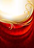 Rood stoffengordijn met ornament Stock Afbeelding