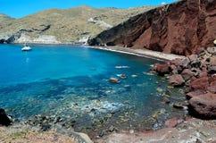 Rood strand in Akrotiri, Santorini Griekenland Royalty-vrije Stock Afbeelding