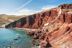 Rood strand op Santorini-Eiland, Griekenland Stock Foto