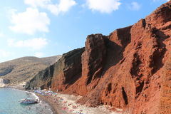 Rood Strand, Santorini Stock Fotografie