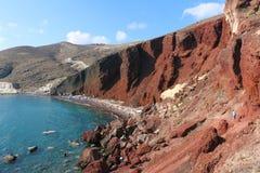 Rood Strand, Santorini Royalty-vrije Stock Foto's