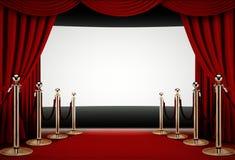 Rood tapijt aan een gebeurtenis van de filmpremière Stock Fotografie