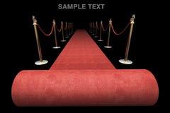 Rood tapijt dat op zwarte wordt geïsoleerd? Royalty-vrije Stock Afbeelding