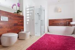 Rood tapijt in heldere badkamers Stock Afbeeldingen