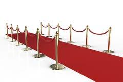 Rood tapijt met kabelbarrière Stock Foto's
