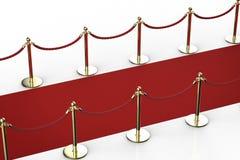 Rood tapijt met kabelbarrière Royalty-vrije Stock Foto's