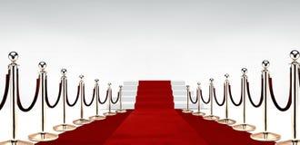 Rood tapijt met treden aan het eind Stock Foto