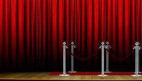 Rood tapijt op stadium en gordijn royalty-vrije stock afbeeldingen