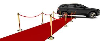Rood tapijt SUV Stock Foto's