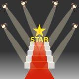 Rood tapijt voor beroemdheden Podium met een rood tapijt en een realistische verlichting royalty-vrije illustratie