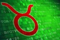 Rood Taurus Zodiac Sign op groene digitale achtergrond De ruimte van het exemplaar Stock Foto