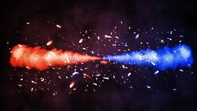Rood tegenover Blauwe die explosie op zwarte achtergrond wordt geïsoleerd De sintels van rookdeeltjes bedekt effect stock afbeelding