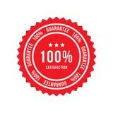 Rood teken de waarborg van de 100 percententevredenheid Vlakke Vectorillustratie EPS 10 stock illustratie