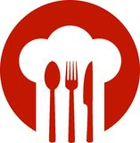 Rood teken met chef-kokhoed Stock Afbeelding