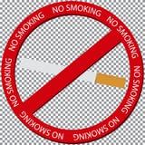 Rood teken Nr die - met sigaret vlak ontwerp roken Stock Foto