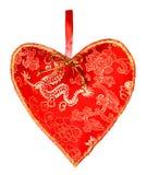 Rood textielhart Royalty-vrije Stock Foto's