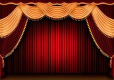 Rood theatergordijn Stock Fotografie