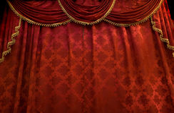 Rood theatergordijn Stock Afbeelding