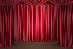 Rood theatergordijn, achtergrond Stock Foto