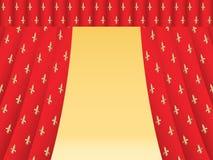 Rood theatergordijn met koninklijke lelies Stock Afbeelding