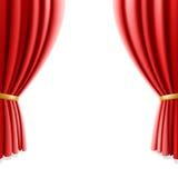 Rood theatergordijn op witte achtergrond. Vector. Stock Foto
