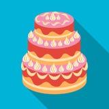 Rood three-ply cakepictogram in vlakke stijl op witte achtergrond De voorraad vectorillustratie van het cakessymbool Stock Foto