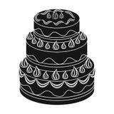 Rood three-ply cakepictogram in zwarte die stijl op witte achtergrond wordt geïsoleerd De voorraad vectorillustratie van het cake Royalty-vrije Stock Foto