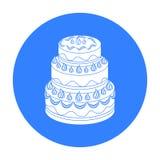 Rood three-ply cakepictogram in zwarte die stijl op witte achtergrond wordt geïsoleerd De voorraad vectorillustratie van het cake Royalty-vrije Stock Foto's