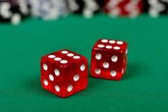 Rood twee dobbelt Stock Afbeelding