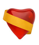 Rood valentijnskaarthart met golde Royalty-vrije Stock Afbeelding
