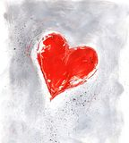 Rood valentijnskaarthart op grijs Stock Afbeeldingen