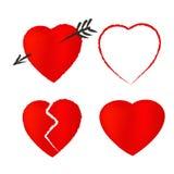 Rood Valentine Symbols Isolated op Witte Achtergrond Royalty-vrije Stock Afbeeldingen