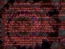 Rood Van de Bron code van de Programmering Ontwerp op Fractal Stock Foto