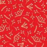 Rood vectorkerstmispatroon met gele takken royalty-vrije stock afbeelding