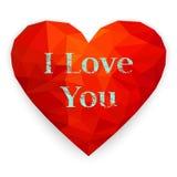 Rood veelhoekig hart De gelukkige kaart van de valentijnskaart`s dag Vectorillustra Royalty-vrije Stock Fotografie