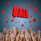 Rood verkoopteken over blauw gradiënt 3d rood als achtergrond Stock Fotografie