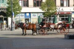 Rood vervoer met paarden in het vierkant van Krakau Royalty-vrije Stock Afbeeldingen