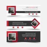Rood vierkant abstract driehoeks collectief bedrijfsbannermalplaatje, het horizontale malplaatje reclame van de bedrijfsbannerlay stock illustratie