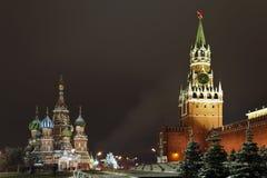 Rood Vierkant bij nacht, Moskou, Rusland Stock Fotografie