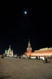 Rood Vierkant bij nacht, Moskou, Rusland Stock Foto